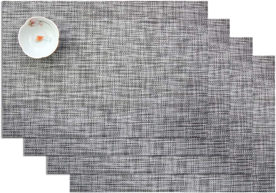 ZebraSmile Set of 4 Anti-skid Heat Insulation Woven Textilene PVC Placemats Solid Color Washable Stain Resistant Non-Slip Dinner Table Mat for Home Kitchen Dining Table Heat-resistant Place Mats, Gray