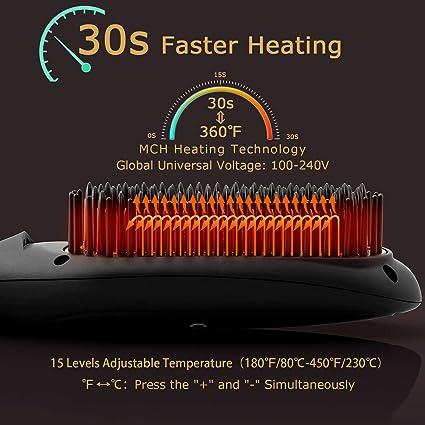 Amazon.com: Ionic Hair Straightener Brush by COOLKESI, 30s ...
