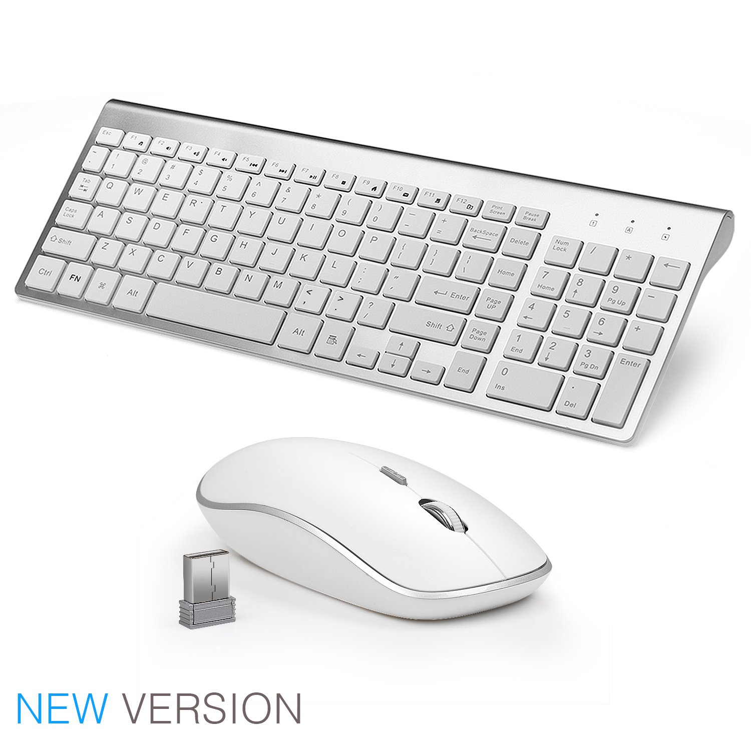 JOYACCESS Wireless Keyboard and Mouse Combo Full-size Whisper-quiet Compact Keyboard Mouse- Silver