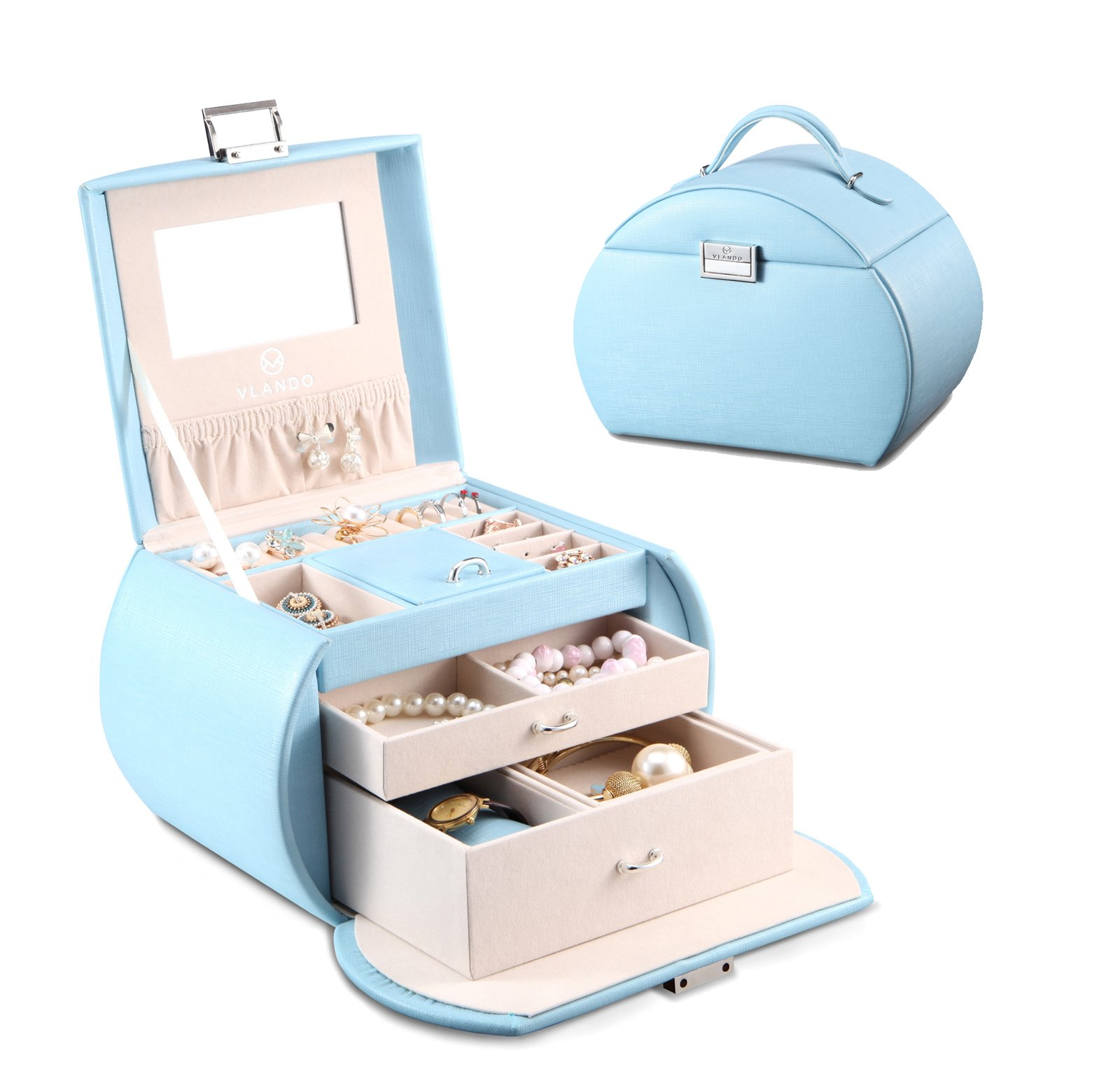 Vlando Princess Style Medium Size Jewelry Box, Fabulous Girls gifts (Blue)