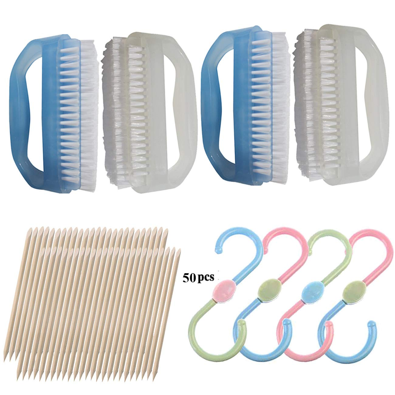 NewFerU Hand Finger Nail Scrub Brush Cleaner Blue and White for Deep Cleaning With Cuticle Remover Tool Set Pack of 4 Chengxing NFU13140
