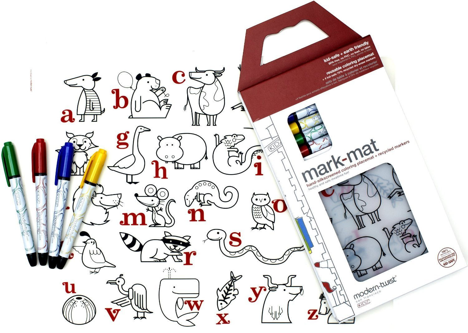 modern-twist Kids Mark-Mat Silicone Coloring Placemat with 8 Dry-Erase Markers, Alphabet Animals
