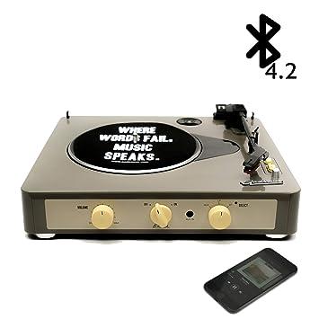 Gadhouse Brad Vintage tocadiscos tornamesa de 3 velocidades construido en Bluetooth, altavoces estéreo, salida de auriculares Gris