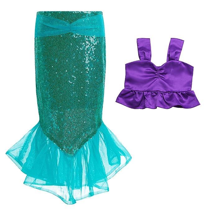 MSemis Traje de Baño Disfraz Infantil de Sirenita para Niñas Bikini + Falda Elástica con Lentejuelas Disfraces Sirena Ropa de Playa Fiesta Regalo ...
