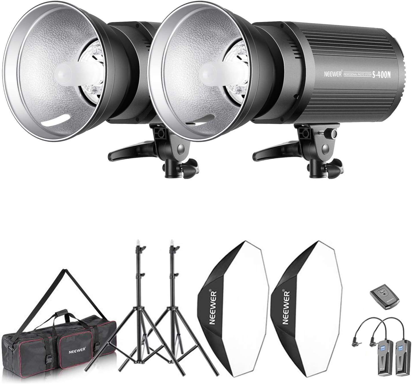 Neewer Flash Estereoscópico Softbox 800W Kit:(2)400W Monoluz (2)Reflector (2)Soporte de Luz (2)Softbox (2)Lámpara de Modelado (1)RT-16 Disparador Inalámbrico (1)Bolsa