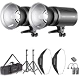 Neewer Flash Estereoscópico Softbox 800W Kit:(2)400W Monoluz (2)Reflector (2)Soporte de Luz (2)Softbox (2)Lámpara de…