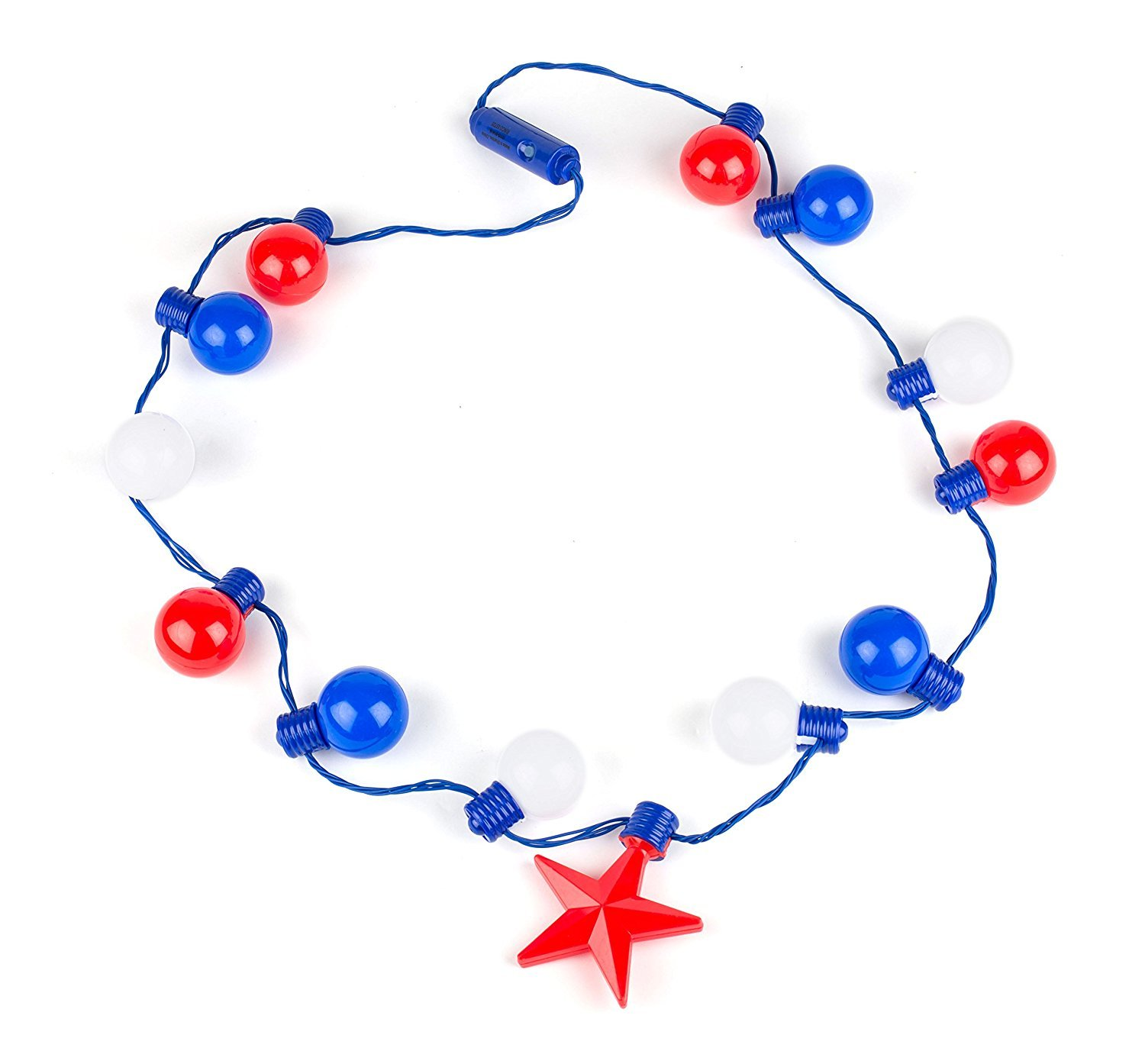 July 4th Independence Day Party Toy Decoration - Patriotic Light up Super Sized Red Blue and White Necklace - 20'' By Neliblu (Pack of 2) by Neliblu (Image #1)