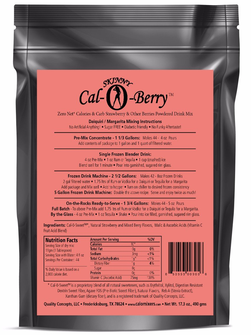 Skinny Cal-O-Berry (TM) Zero Calorie All Natural Strawberry Daiquiri/Margarita Mix, 44 Servings