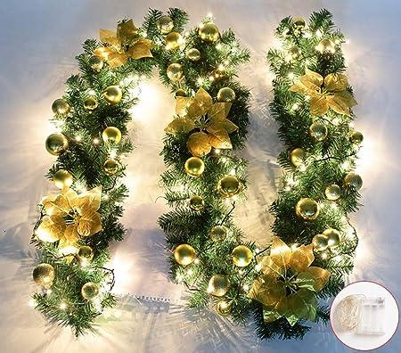 Jnseaol Coronas Guirnaldas 2.7 M Escaleras Chimenea Ventana Árbol De Navidad Oficina Comercial Decoración Navidad Flor Led Resplandor,Golden Light: Amazon.es: Hogar