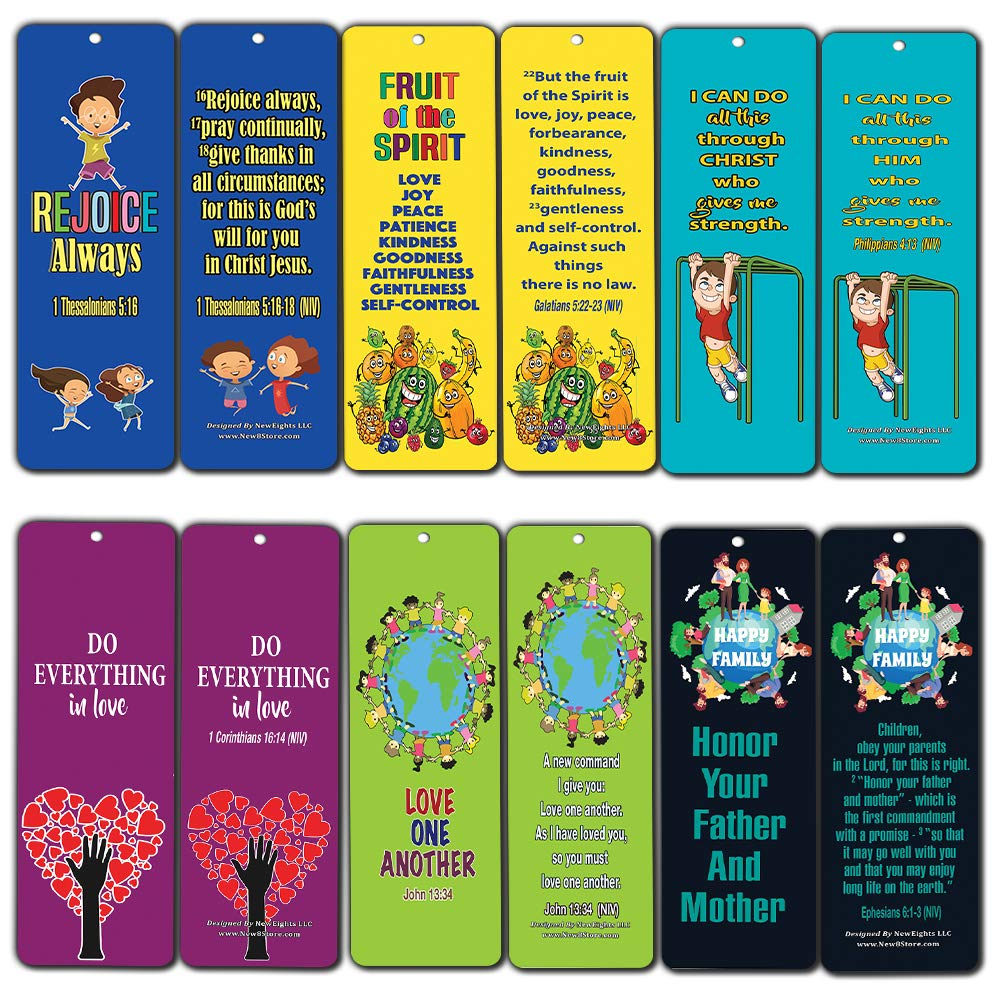 Kids Religious Bookmarks Cards (30-Pack)- Christian Character Building Bible Scriptures - Encourage Good Behavior - for Sunday School Homeschooling VBS Camp Bible Journaling Wall Decor Gift
