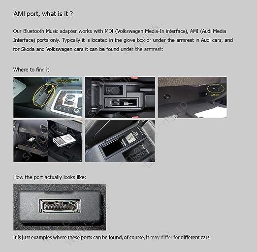 adaptateur dinterface de musique Bluetooth 5.0 AUX Le c/âble audio sadapte /à Audi AMI MMI MDI C/âble audio