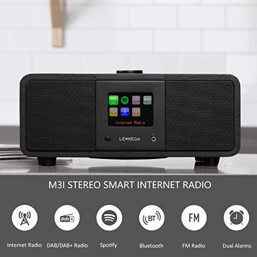 LEMEGA M3i Radio con Internet,Estéreo Radio Digital compacta con WiFi/Dab/Dab+/FM,Spotify Connect,Bluetooth,Alarma Dual, USB, Line in,Control por App,Pantalla a Color de 2,8