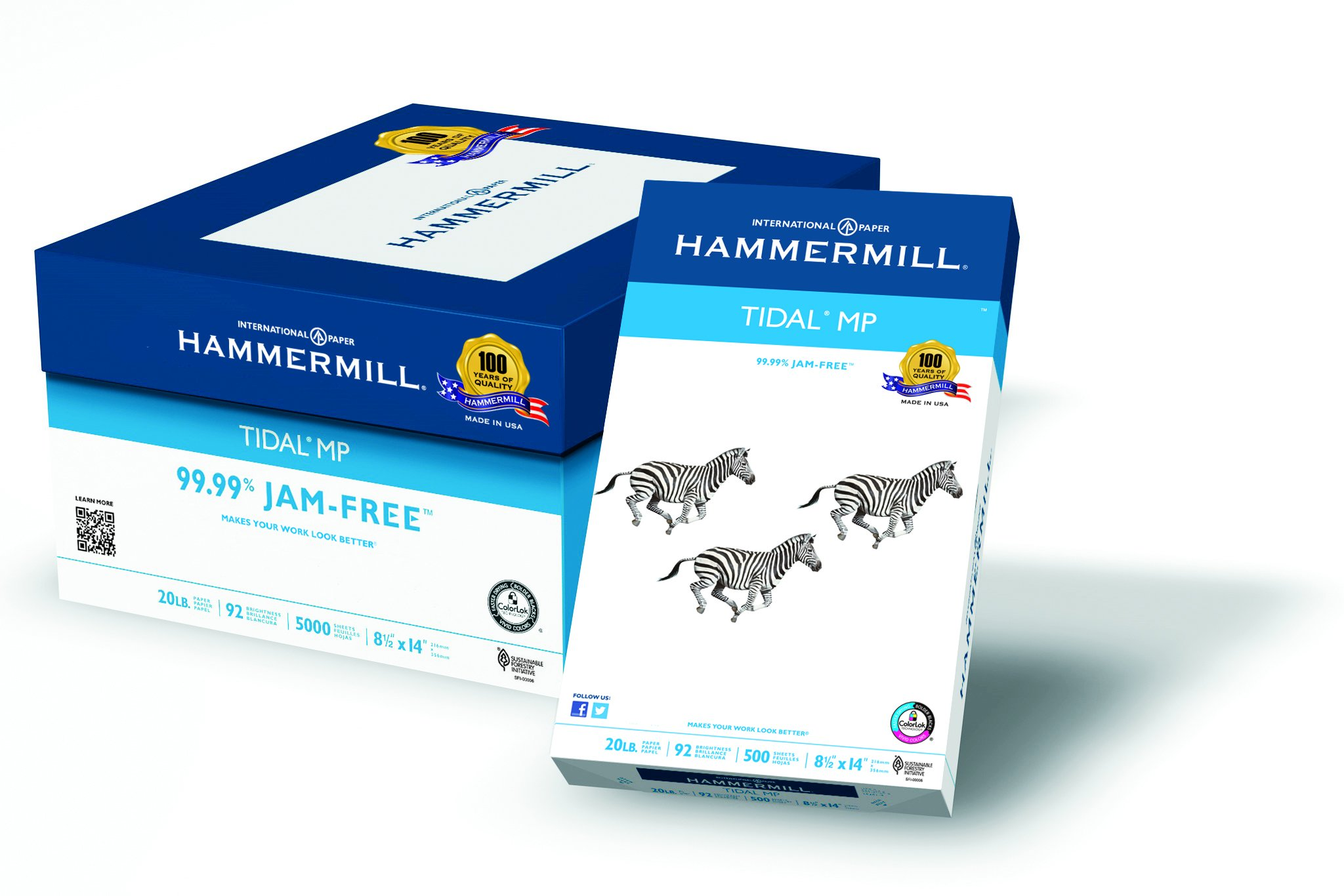 Hammermill Paper, Tidal MP, 20lb, 8 .5 x 14, Legal, 92 Bright, 5000 Sheets / 10 Ream Case (162016C), Made In The USA