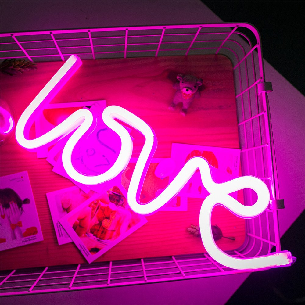 Led LOVE Neon Sign, Neon Light Sign LOVE Wedding Decor Party Suppliers Night Light USB and Battery Operated Lighting Valentines Day Gift Kids Bedroom (Pink) by Led