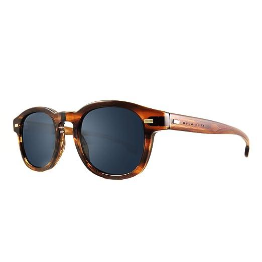 9198a44efc01 Hugo Boss 0999/S Square Men's Sunglasses, 49mm (Striped Brown, Blue Avio