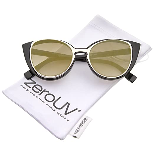 89f17d92e905c Women s Open Metal Insert Colored Mirror Lens Cat Eye Sunglasses 51mm  (Black-Gold