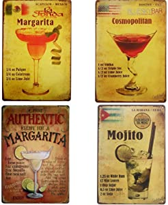 UOOPAI Classic Cocktail Authentic Margarita Cosmopolitan Mojito Retro Metal Tin Sign Wall Decor Vintage Plaque Bar Pub Poster Set of 4