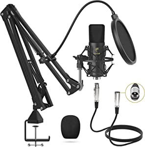 XLR Condenser Microphone, TONOR Professional Cardioid Studio Mic Kit with T20 Boom Arm, Shock Mount, Pop Filter for Recording, Podcasting, Voice Over, Streaming, Home Studio, YouTube (TC20)