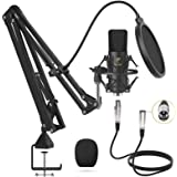 XLR Condenser Microphone, TONOR Professional Cardioid Studio Mic Kit with T20 Boom Arm, Shock Mount, Pop Filter for Recording