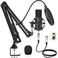 Micrófono de Condensador, TONOR Kit Micrófono Profesional Cardioide Estudio XLR Brazo T20, Soporte Amortiguador, Filtro…
