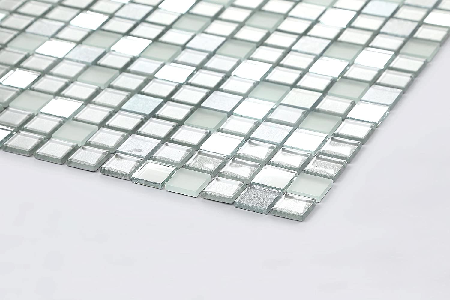 30x30cm Silver Mirror Frosted Glitter Mix Glass Mosaic Tiles Sheet MT0046 by Grand Taps