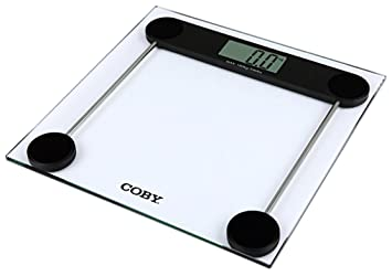 COBY Tempered Glass Digital Bathroom Scale, Clear, 3.47 Pound