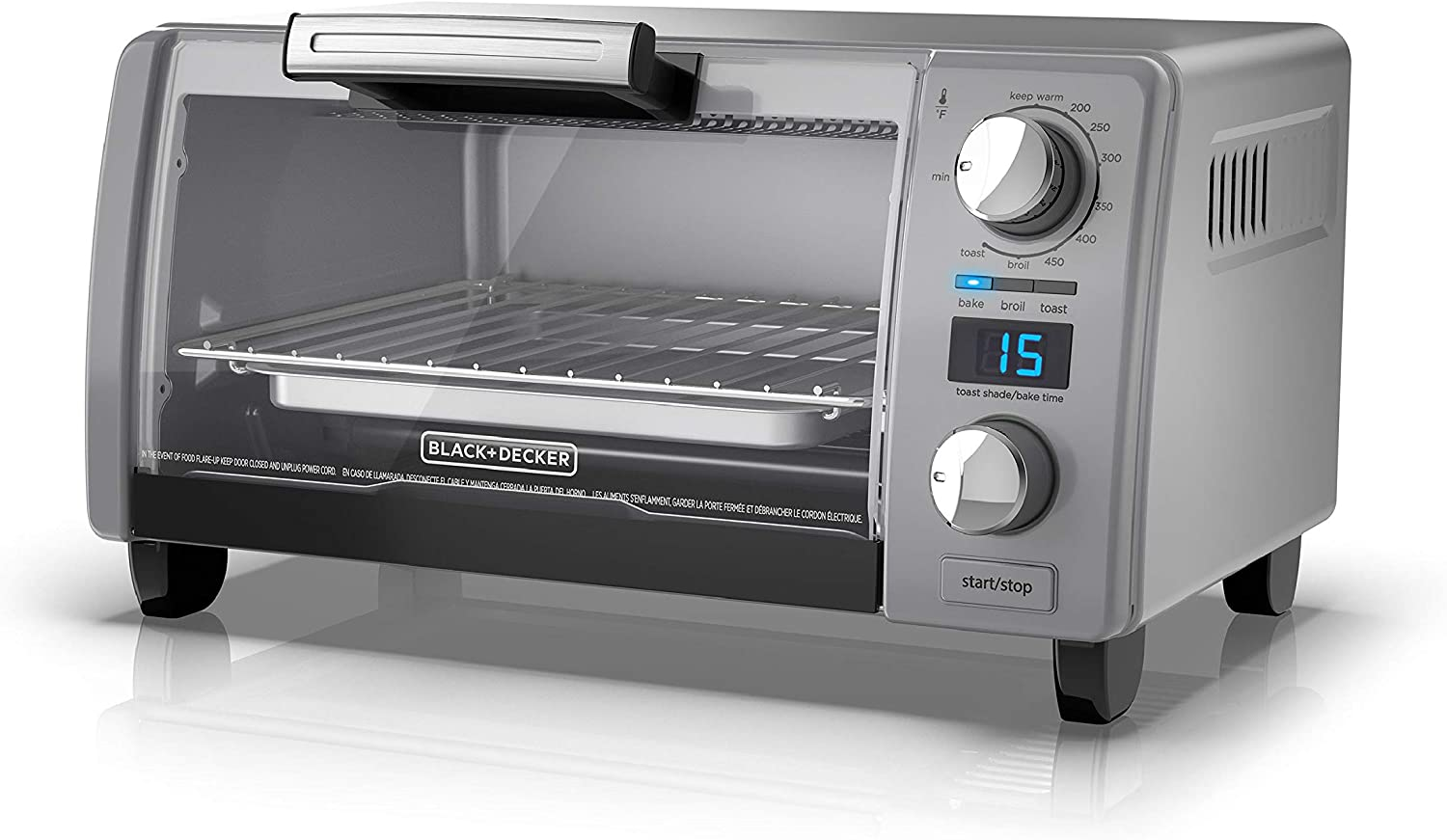 BLACK DECKER TOD1770G 4-Slice Natural Convection Digital Toaster Oven, Grey, 15.3 x 9.8 x 7 , Gray