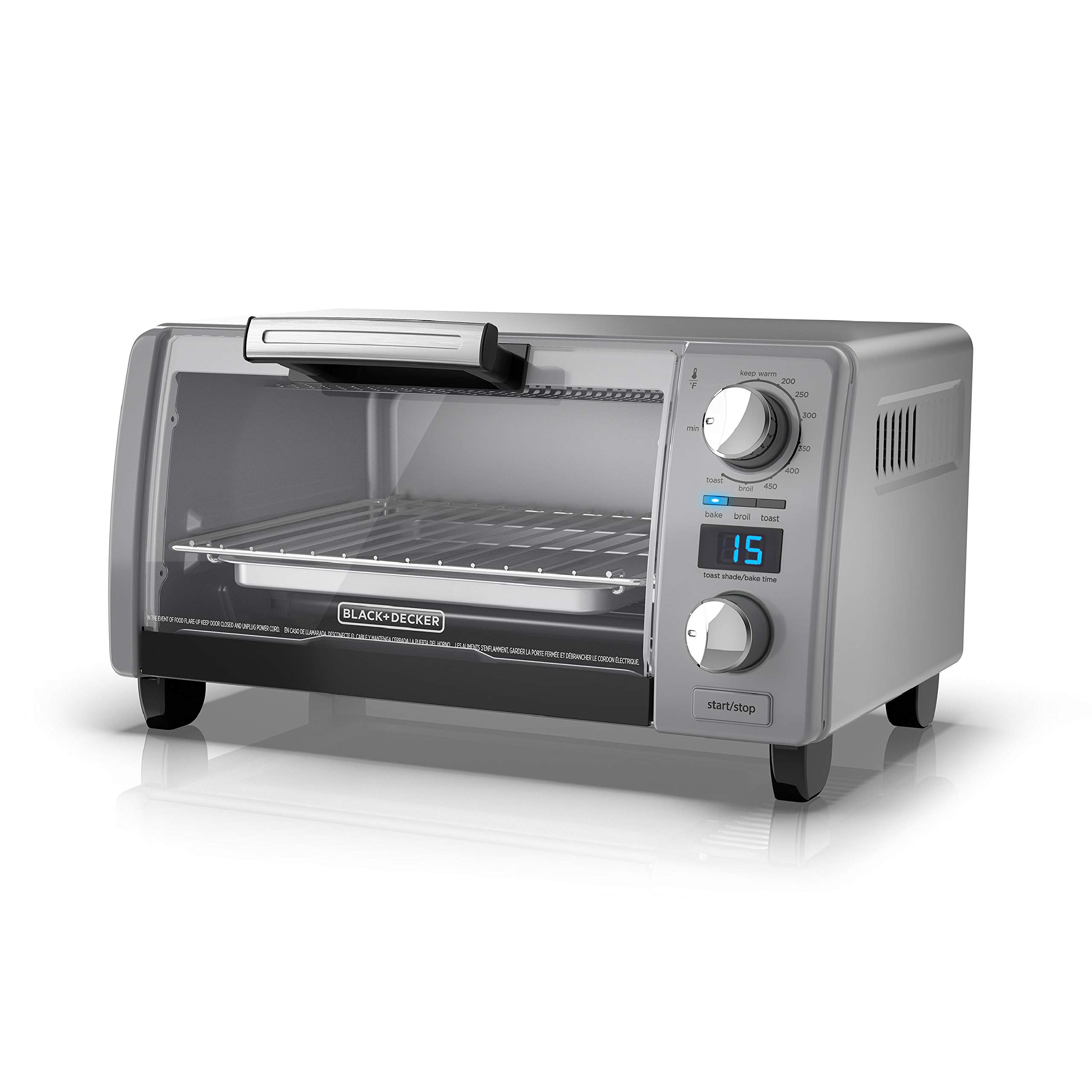 BLACK+DECKER TOD1770G 4-Slice Natural Convection Digital Toaster Oven, Grey, 15.3'' x 9.8'' x 7'', Gray by BLACK+DECKER