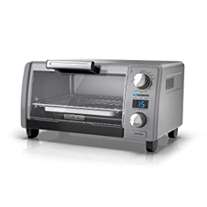 "BLACK+DECKER TOD1770G 4-Slice Natural Convection Digital Toaster Oven, Grey, 15.3"" x 9.8"" x 7"", Gray"