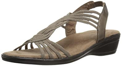 Easy Street Women's Natara Flat Sandal, Pewter, ...