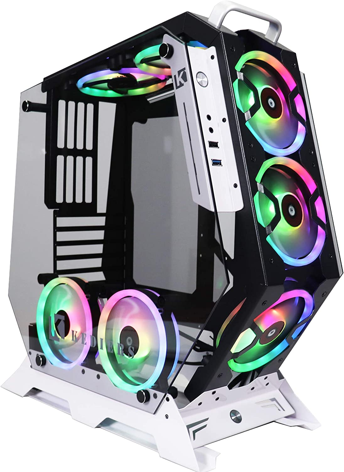 KEDIERS Red ATX Open Frame Panoramic Viewing Gaming Computer Case Pc Case Mid Tower Case with 2 Tempered Glass and RGB Fans (5 RGB Fans, White)