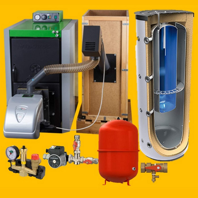 BimSch 2 - Caldera de pellets (25 - 32 kW, incluye quemador, recipiente para caracoles de extracción y accesorios)