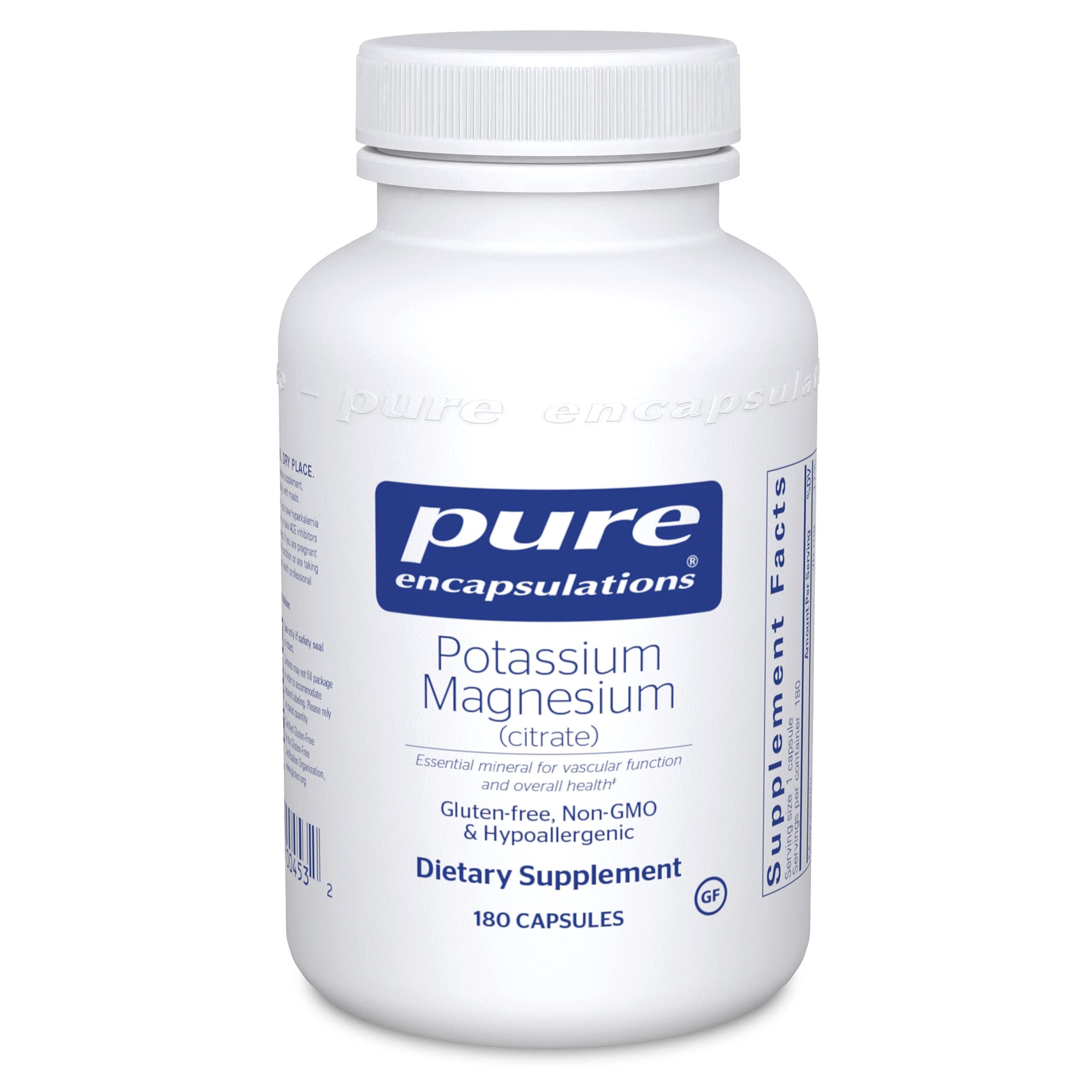 Pure Encapsulations Potassium Magnesium (Citrate)   Supports Heart Health, Muscles, Bone Mineralization, Nerves, and Acid/Alkaline Balance*   180 Capsules