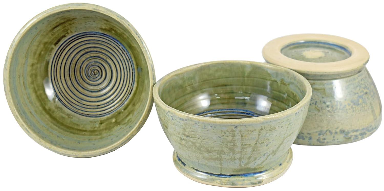 Executive Shaving Handmade Sea Green Glaze Stoneware Shaving Lathering Up Bowl