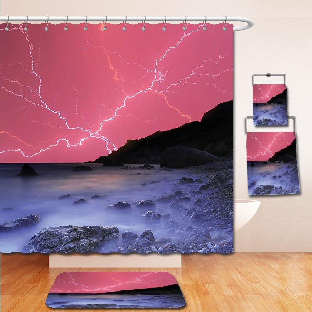 LiczHome Bath Suit: Showercurtain Bathrug Bathtowel Handtowel Lake House Decor Tapestry Thunderstorm Bolts with Vivid Colorful Sky Like Solar Lights Phenomenal Nature Picture Decor Pink Grey