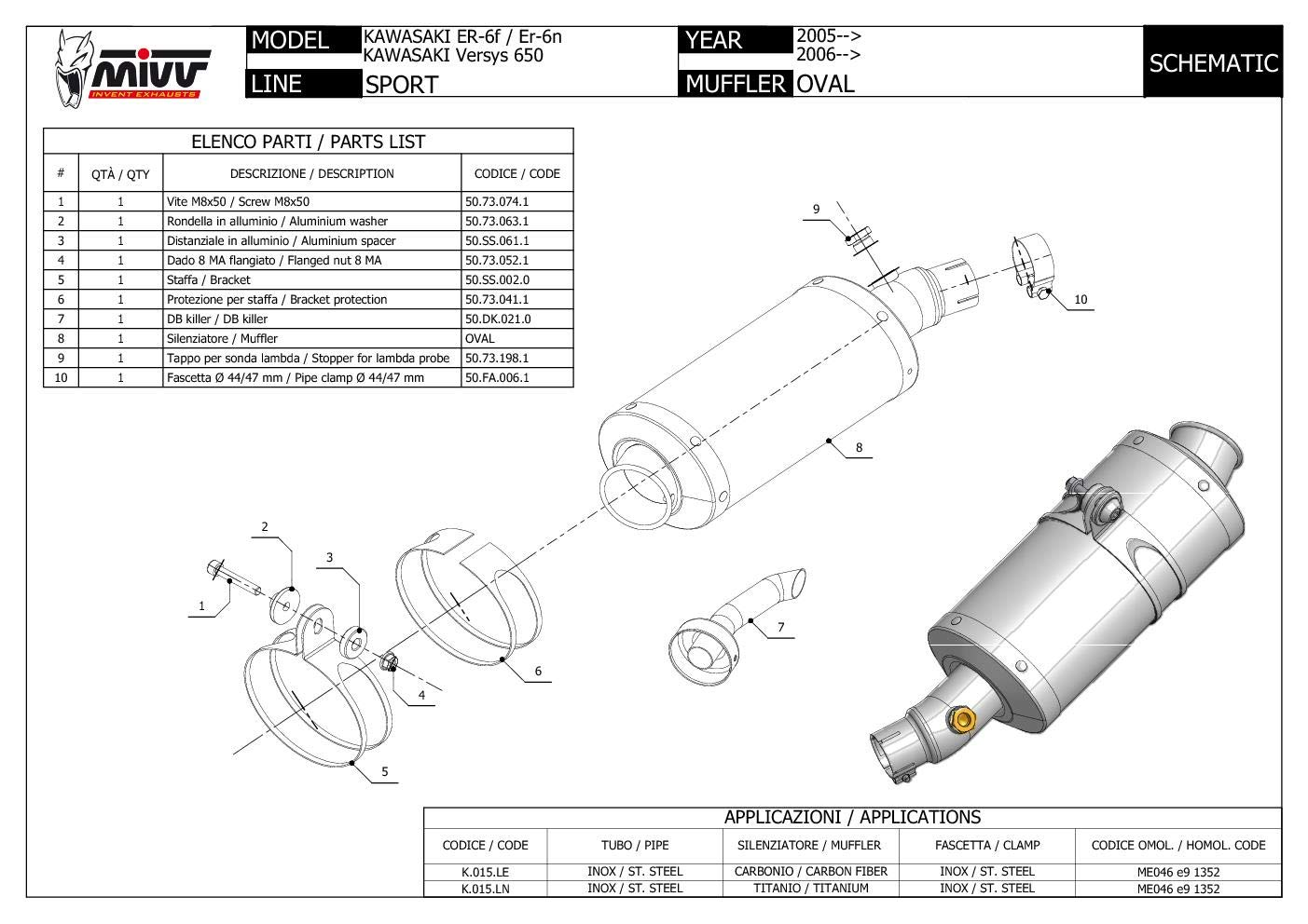 K.015.LE Terminale Scarico MIVV Oval Carbonio per Er 6N F 2009 09