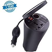 Farraige 4.8A Dual USB 12V DC to 220V AC Car Charger with USB Hub Smart Cup for All Portable Devices (Black)