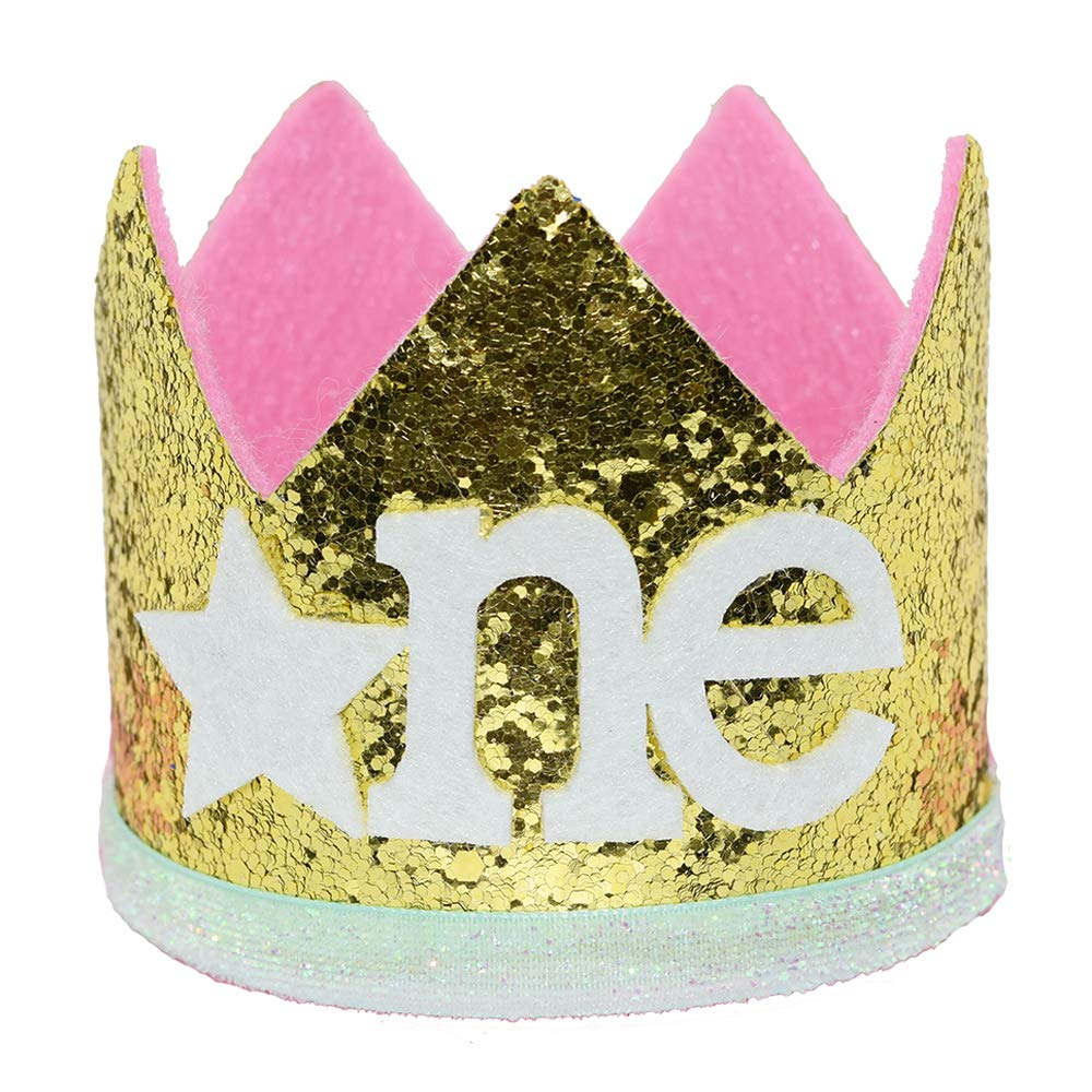 Red Maticr Sparkled First 1st Birthday Crown Baby Girl Princess Headband Party Supplies for Cake Smash