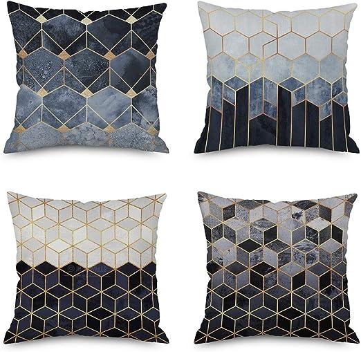 OVEON Pack de 4 Fundas Cojines, Geométricas decoración Cuadrado ...