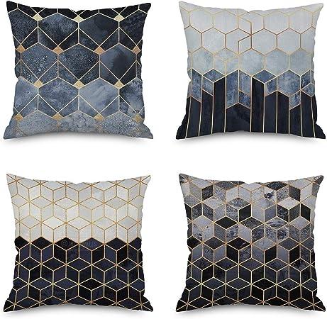 OVEON Pack de 4 Fundas Cojines, Geométricas decoración Cuadrado Fundas de Almohada Funda de cojín para sofá Dormitorio Coche 18 * 18 Pulgada 45 * 45 cm,B: Amazon.es: Hogar