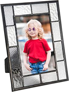 Picture Frame Grey and Clear Textured Stained Glass Photo Table Top Home Office Décor Display Easel Back Horizontal or Vertical Pic 429 (4x6)