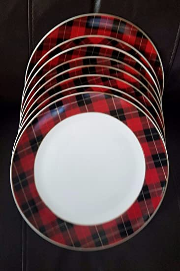 Graceu0027s Teaware Traditional Red Tartan Plaid Christmas Dinner Plate Set ... & Amazon.com | Graceu0027s Teaware Traditional Red Tartan Plaid Christmas ...