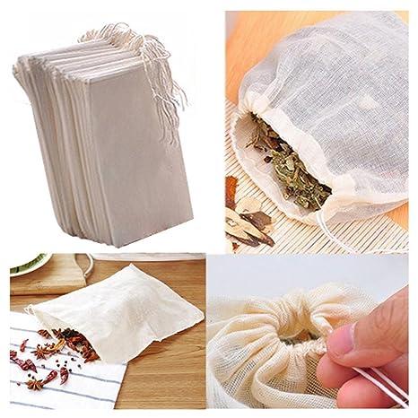 Fomccu - 10 bolsas de muselina de algodón con cordón reutilizables para jabón o té de hierbas, 8 cm x 10 cm