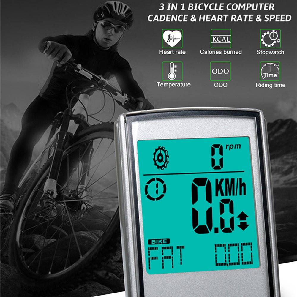 YHOUSE Measuring Cadence Bike Computer Cycle Odometer Speedometer for Bicycle Weatherproof LCD Backlight Display Automatic Wake-up Wireless Cycling Computers with Heart Rate Monitor Straps Ehonestbuy