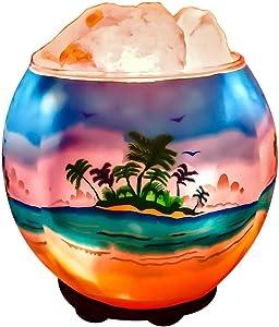 Himalayan CrystalLitez Himalayan Salt Lamp with UL Listed Dimmer Cord, Original Salt Crystals in A Handcrafted Artisan Bowl, Aromatherapy Salt Lamp(Tropical Beach)