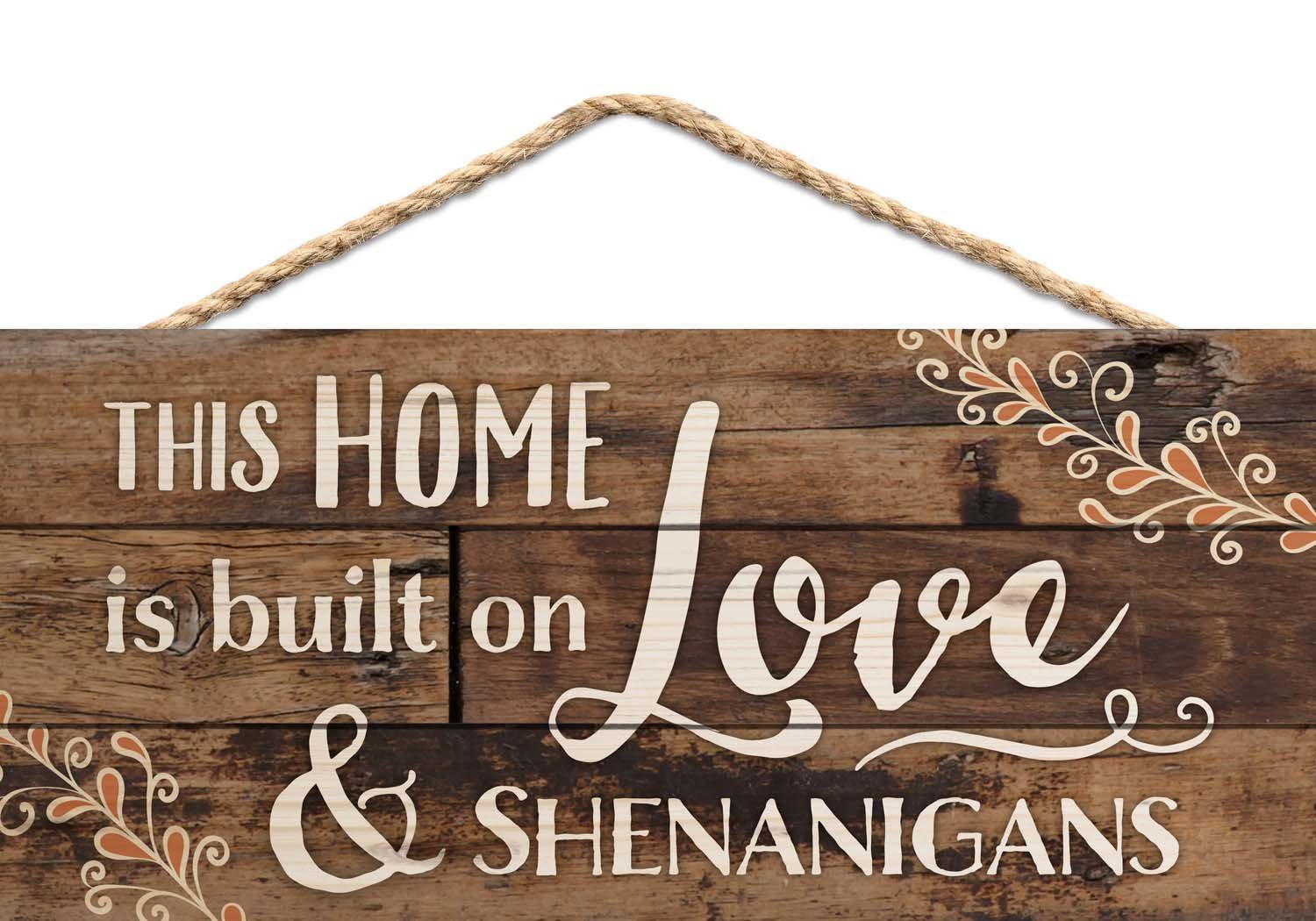 Amazon Uniquepig This House Is Built On Love And Shenanigans Rustic Wood Signs Home Decor Wooden Hanging Plaque 20x30cm Kitchen