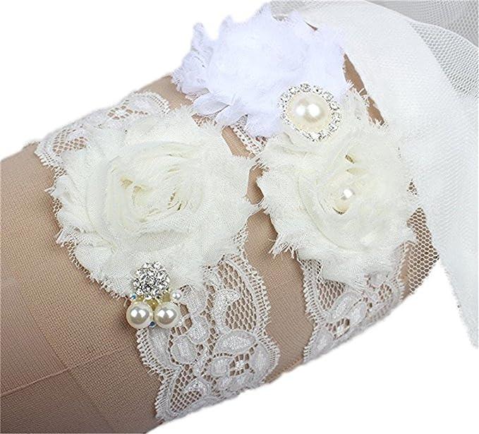 2863d064542 Silver Moonlight Women's Wedding Garter Set Lace Bridal Garter Sets for  Wedding (L(17