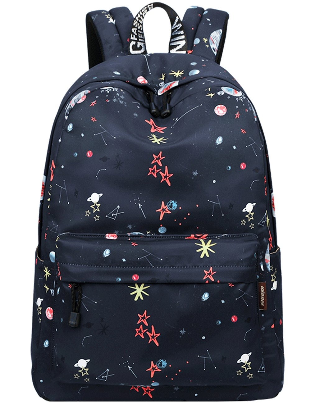 School Bookbags for Girls, Cute Galaxy Stars Planets Backpack College Bags Women Daypack Travel Bag by Mygreen (Black)