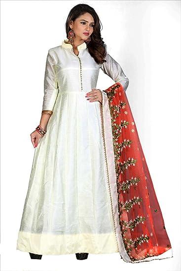 d3da007f71 rangrasiya Women's Banglori Silk Anarkali Salwar Suit(WM04222_White_Free  Size): Amazon.in: Clothing & Accessories