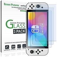 amFilm (3 Piezas) Protector de pantalla de vidrio templado compatible con Nintendo Switch OLED modelo 2021